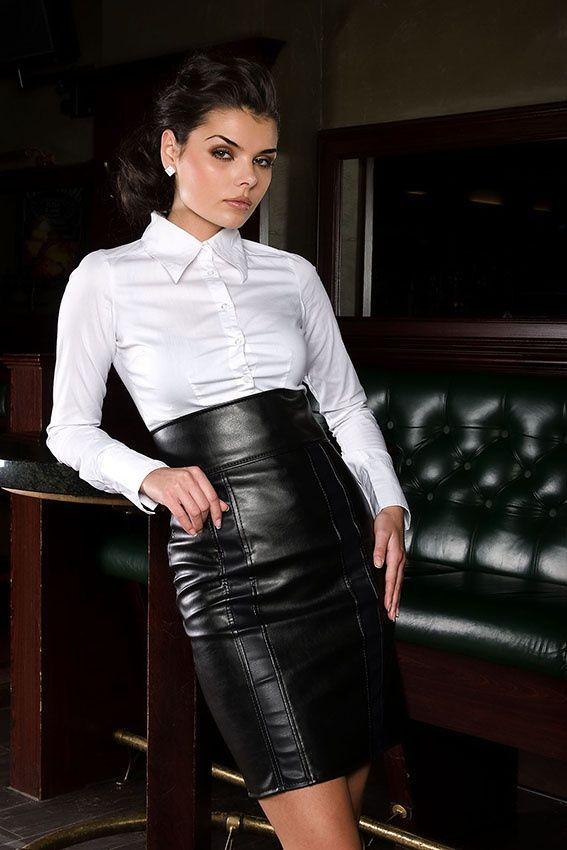 9884617f5b7f High waisted Leather Skirt and a demure white Blouse | #black ...