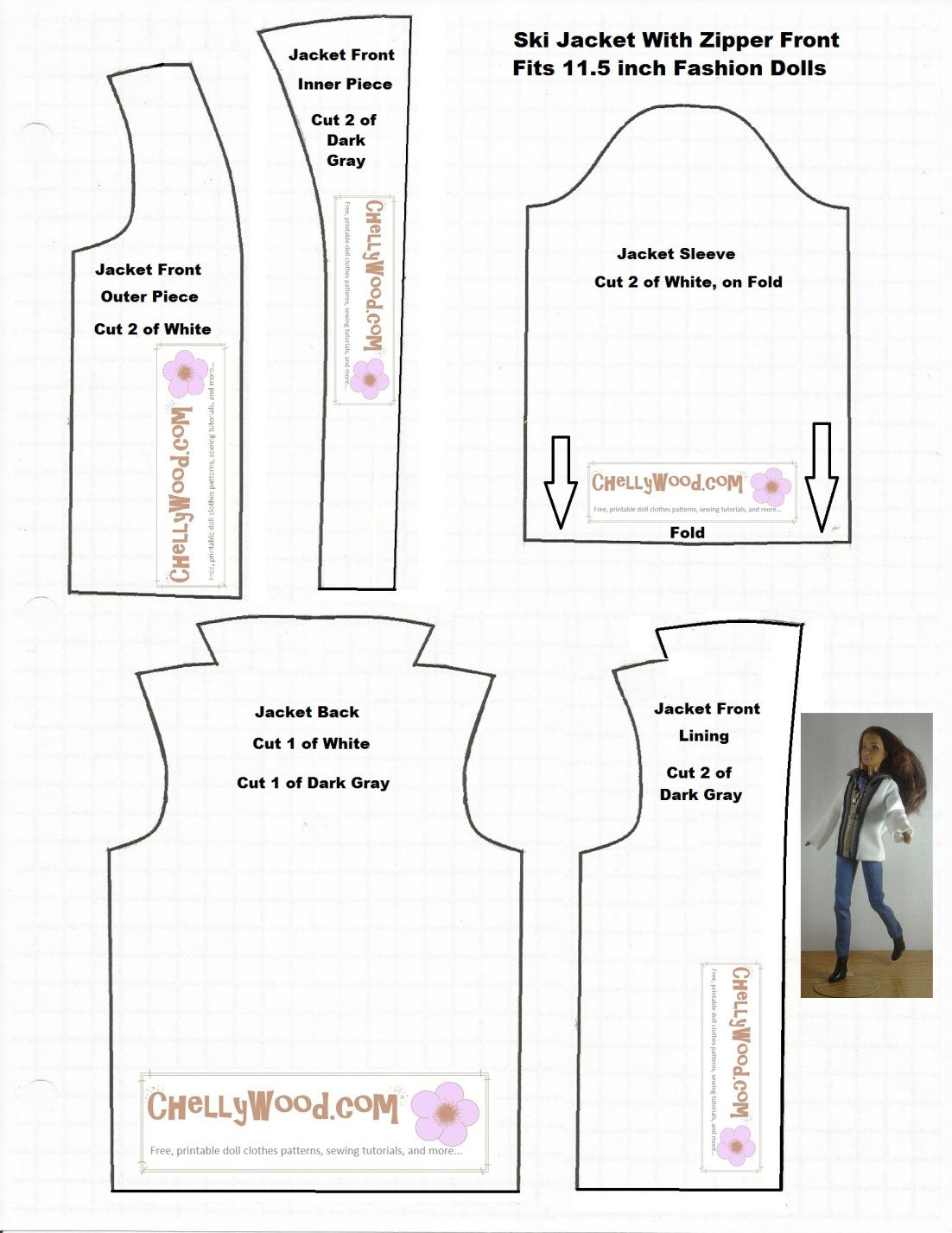 Jacket Patterns Free : jacket, patterns, Zipper, #Jacket, #FashionDolls, #Sewing, Pattern, ChellyWood.com, Sewing, Barbie, Clothes,, Clothes, Barbie,