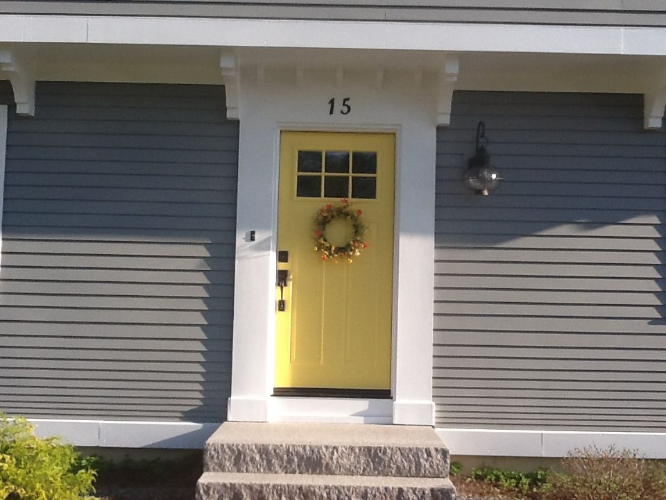 Yellow and gray design with paint benjamin moore yellow for Front door yellow paint