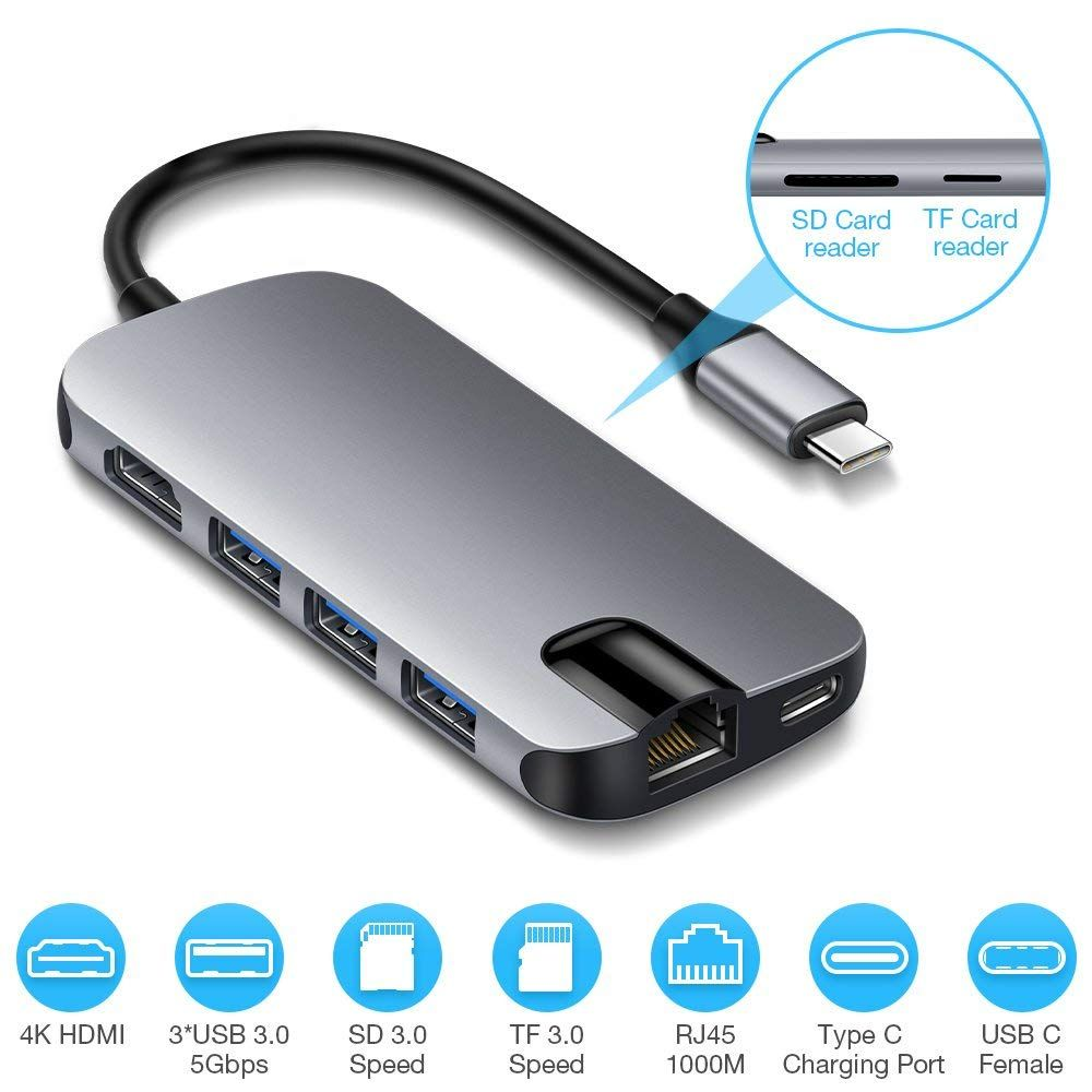 Lenovo USB C Hub USB Type-C Adapter with 3 USB 3.0 Ports and SD//TF Card Reader,Compatible for USB C Devices