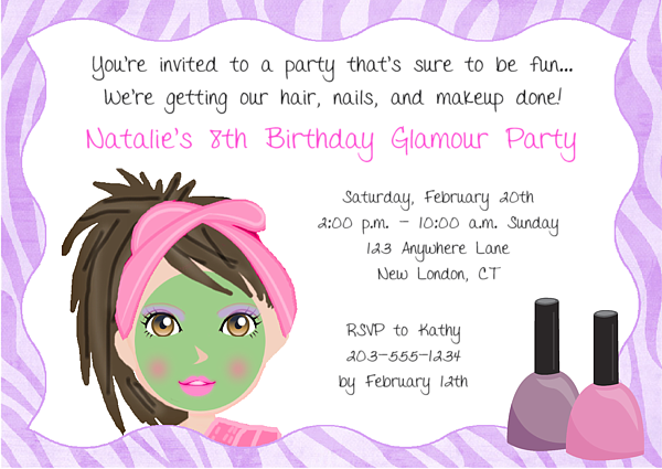 Spa makeover birthday party invitations glamour makeover spa girls spa party invitation wording party invitations this adorable spa invitation features a girl filmwisefo