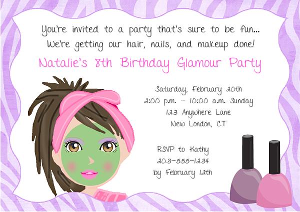 girls spa party invitation wording