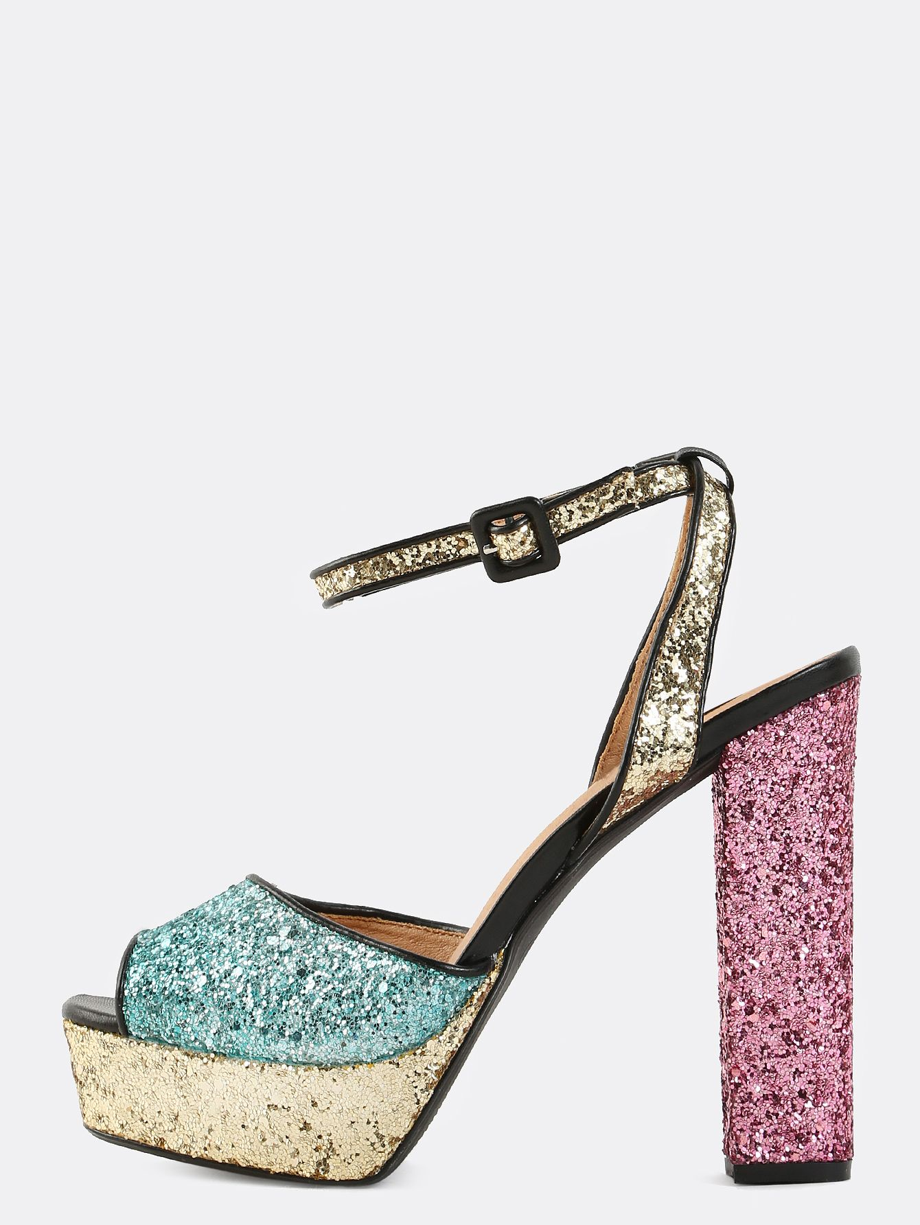 3f02ccb50f89a Keep your look fresh with the stunning Peep Toe Glitter Chunky Heels!  Features a peep toe