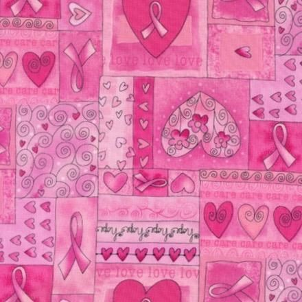 Pink Ribbon With Hearts Fabric In 2019 Products Cotton