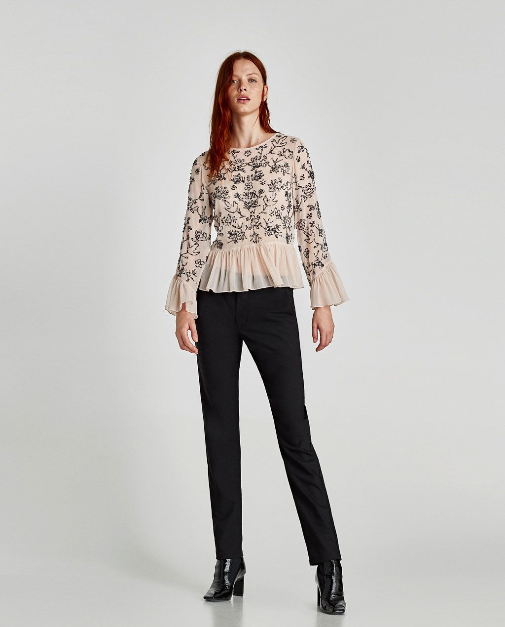 7651f494 Image 1 of EMBROIDERED TOP WITH BACK BUTTONS from Zara | Band Style ...