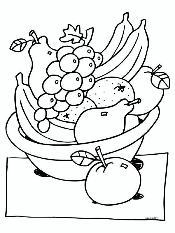 kleurplaat thema fruit en groenten gezonde voeding