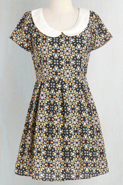 Vintage Peter Pan Collar Short Sleeve Floral Print Dress For Women