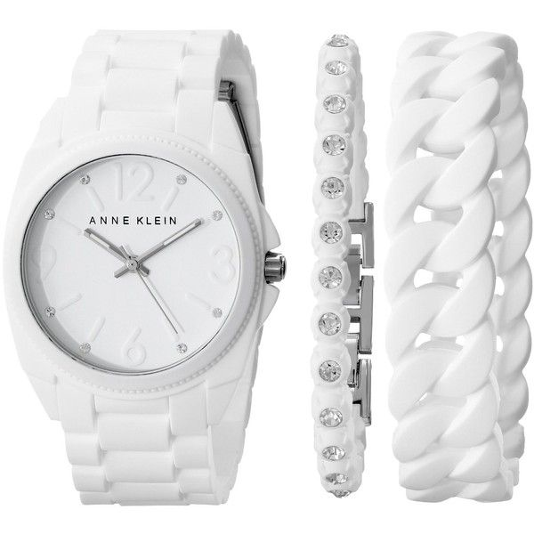 Anne Klein Women's AK/1957WTST Crystal-Accented White Silicone... (465 NOK) ❤ liked on Polyvore featuring jewelry, watches, bracelets, white dial watches, silicone wrist watch, analog watches, anne klein watches and white jewelry