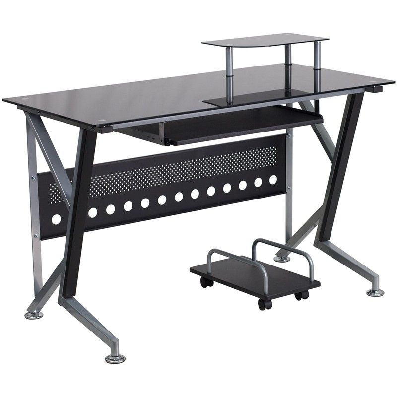 Black Glass Computer Desk With Pull Out Keyboard Tray And Cpu Cart Black Glass Black Glass Computer Desk Glass Computer Desks Black Computer Desk