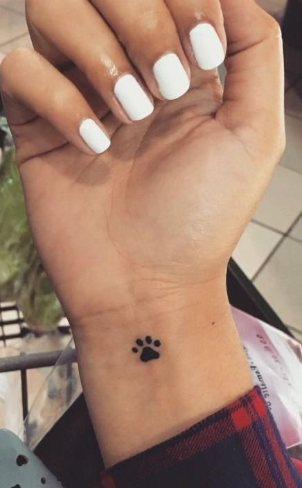 Cute Dog Paw Small Wrist Tattoo Ideas For Women Small Black Animal