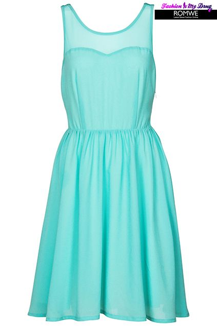 d05c13b1034 Sleeveless Mint Pleated dress - Check out the back!  romwerococo  simple   party  mint  seagreen  blue  dress  romwe