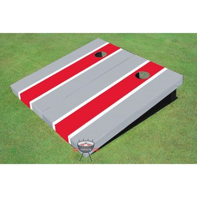 All American Tailgate Matching Long Stripe Cornhole Board Color: Red and Gray