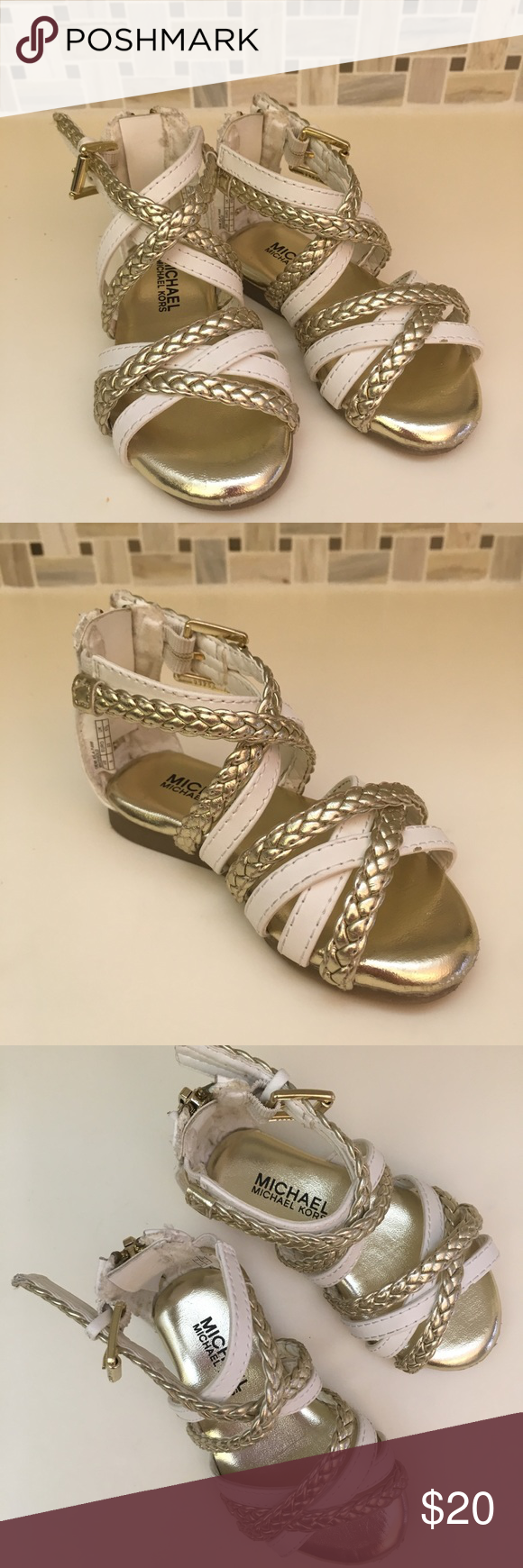 72ba72cff3 Girls MK Gladiator Sandals Adorable and barely worn! White and gold with  back zipper. Toddler size 6. Michael Kors Shoes Baby & Walker