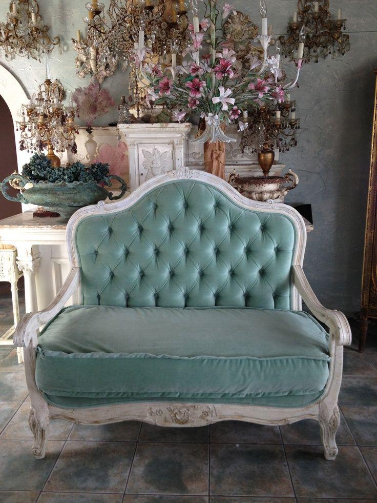 Aqua Blue Color Velvet Antique Country Sofa Setteesloveseatsfrench