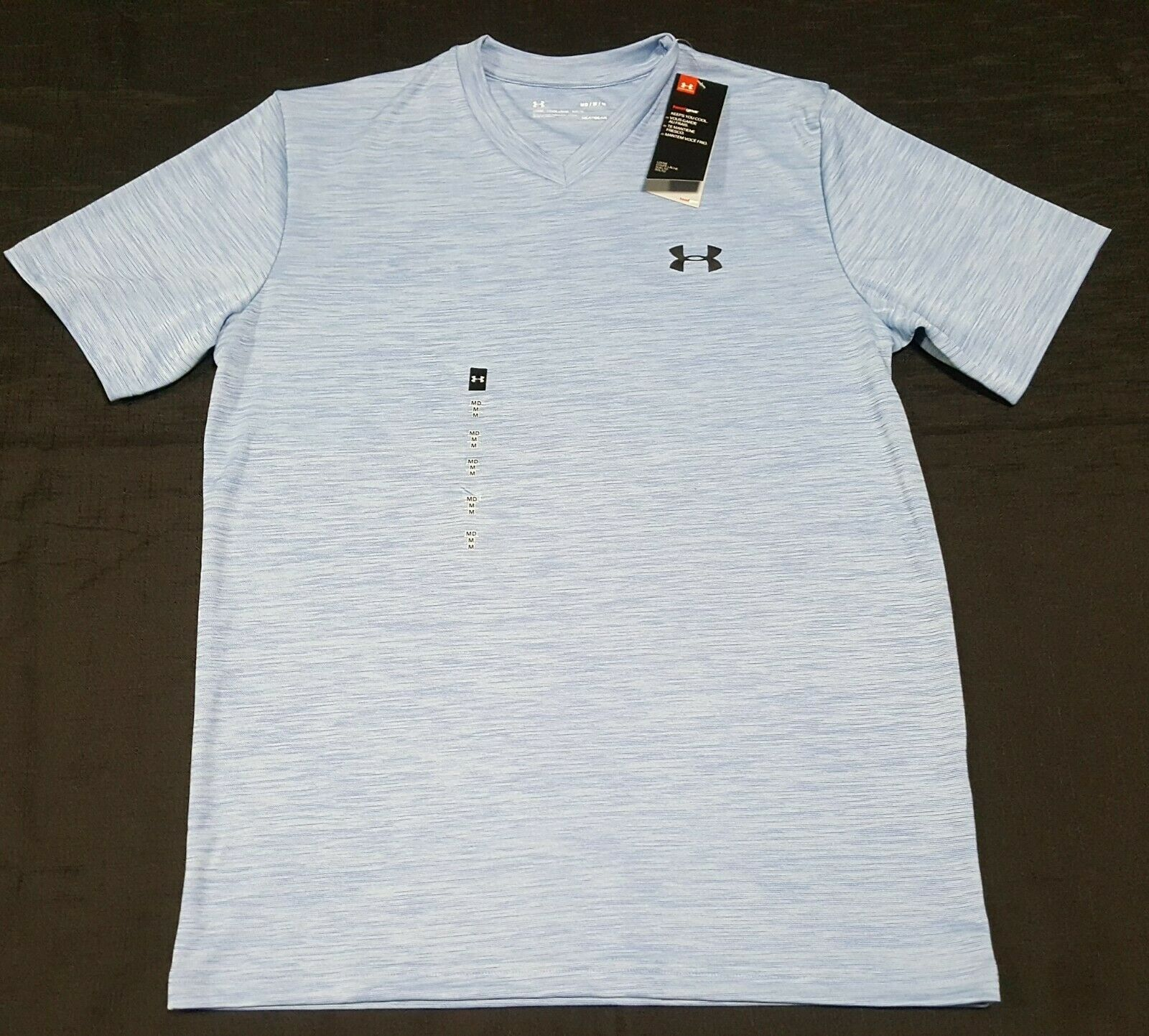 Under Armour MEN Athletic V-Neck Shirt Loose Heat Gear light blue 1327969-483