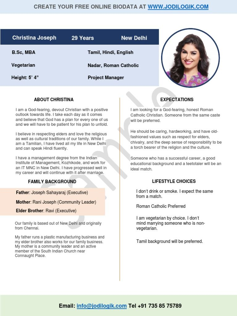 Marriage Biodata Format for Christian Girl - Free download as PDF