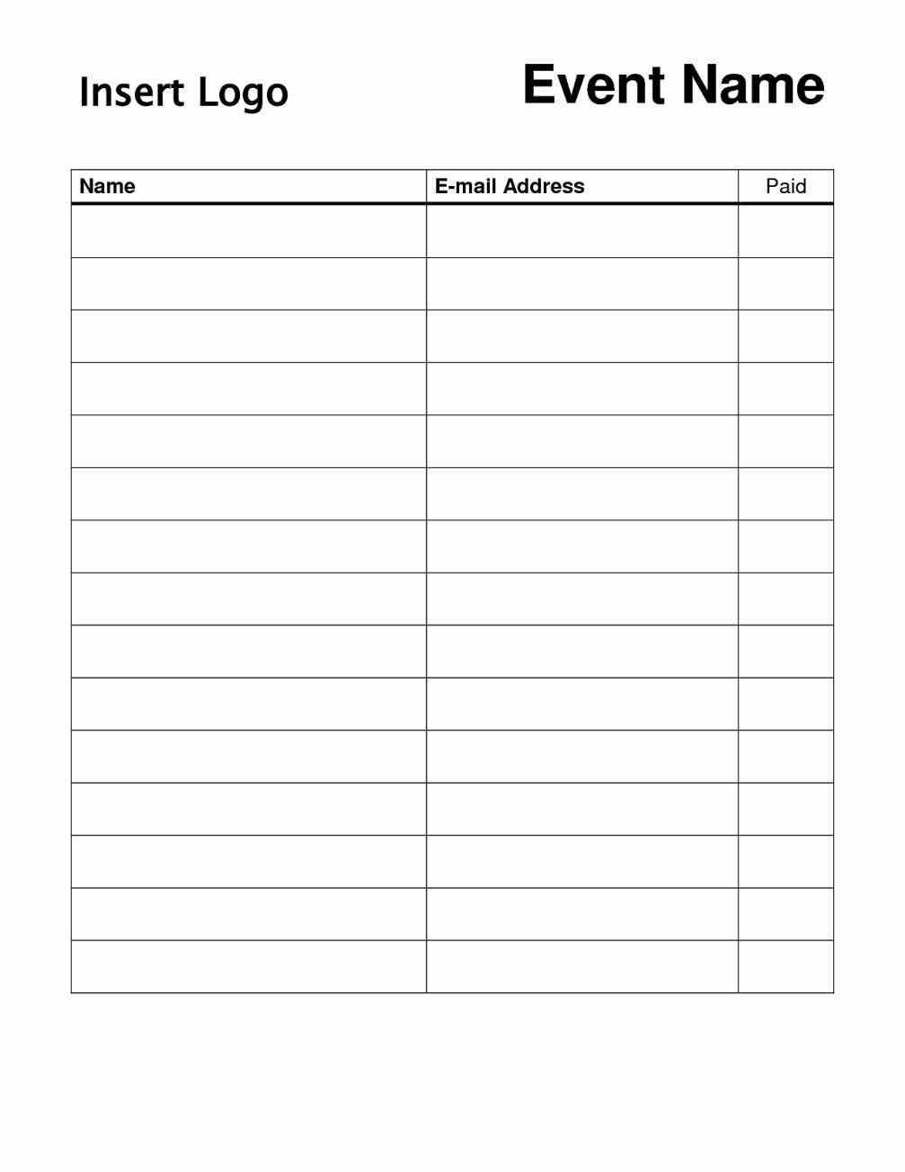 High Quality Can Use For With Sign Up Sheet Template Word Sample Signup Sheet Templates  At Your Disposal With Email Sign Up Sheet Template Word