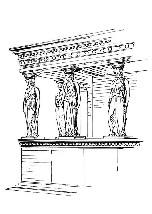 Coloring Page Pillar Caryatid In 2019 Art Coloring Pages