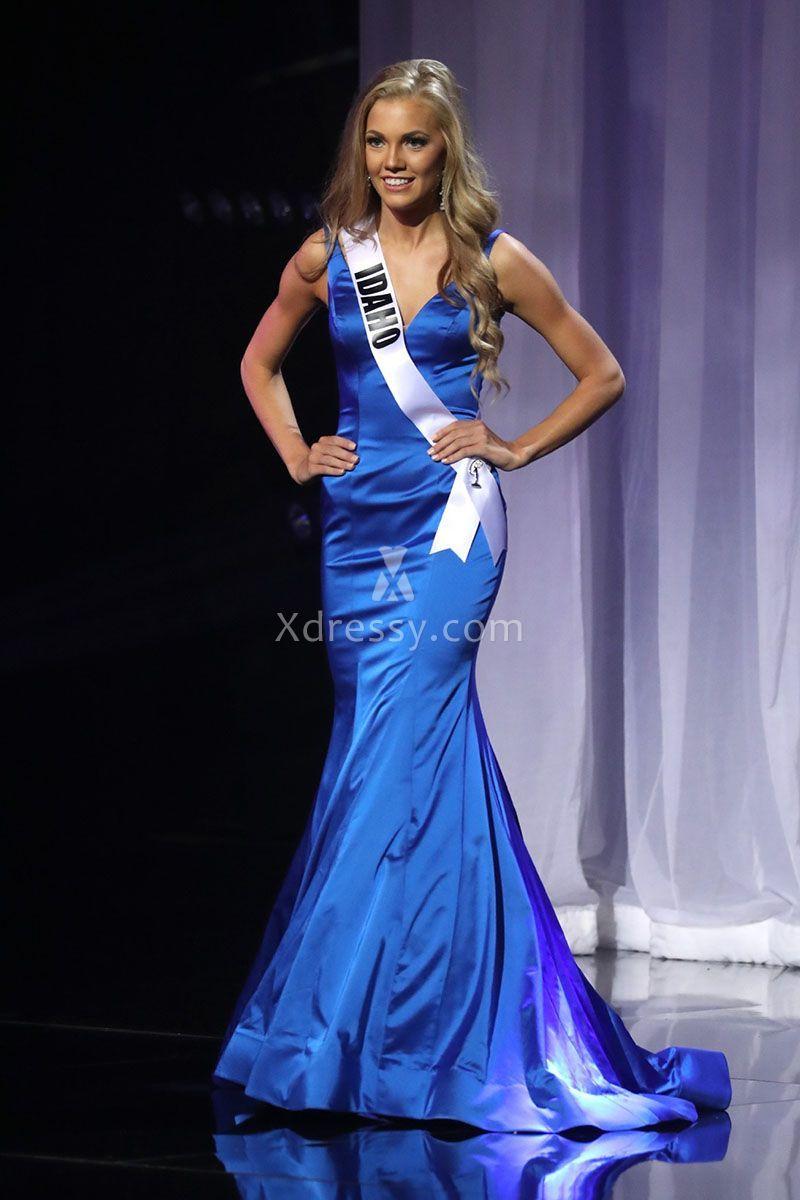 Kate Pekuri Classic Royal Blue Satin Mermaid Pageant Dress Miss ...