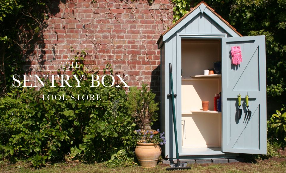 Sentry Box Tool Store From The Handmade Garden Storage Company, Exeter.  Finished In Chalky Blue.
