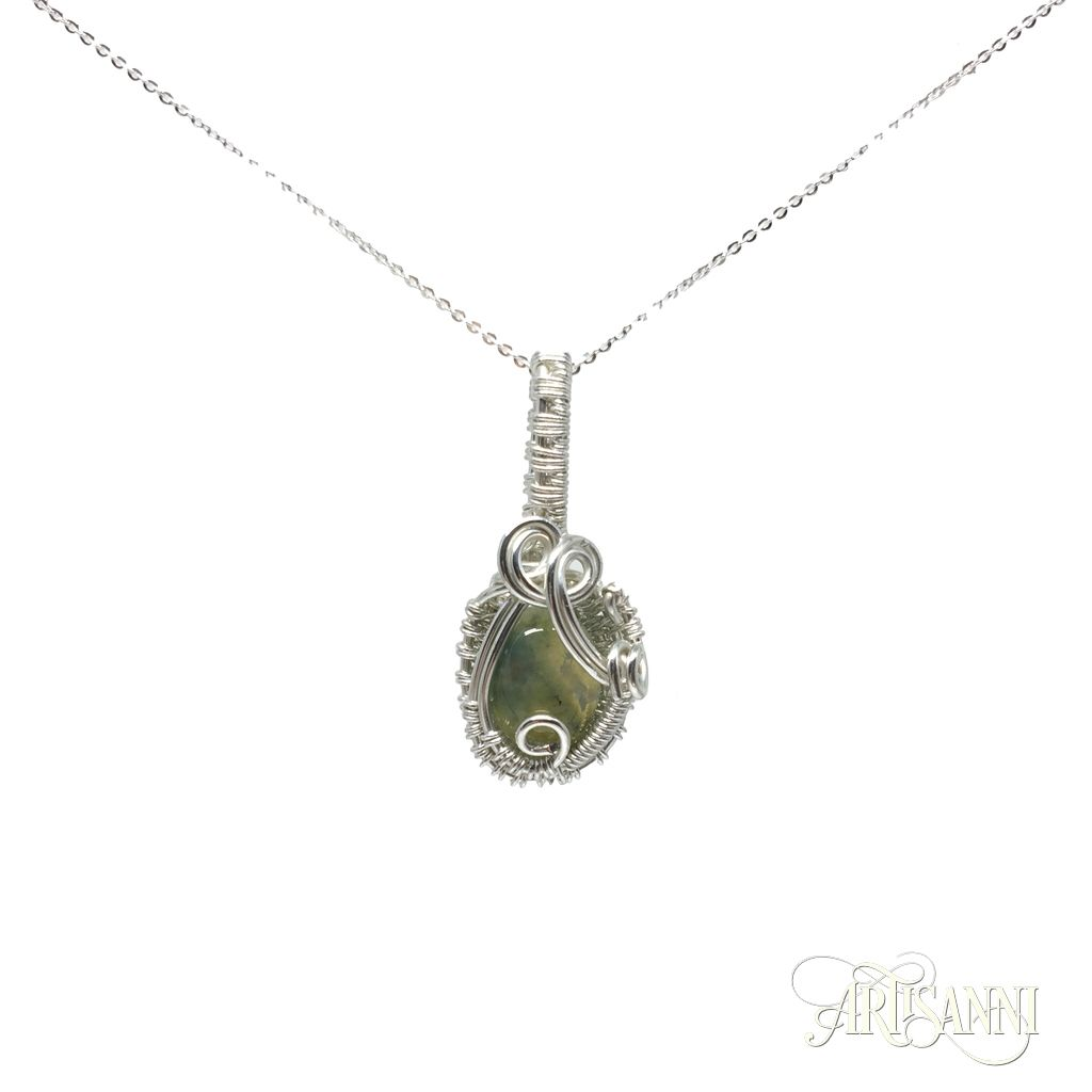 A tiny Moss Agate wrapped in Sterling Silver, #Artisanni #wirework