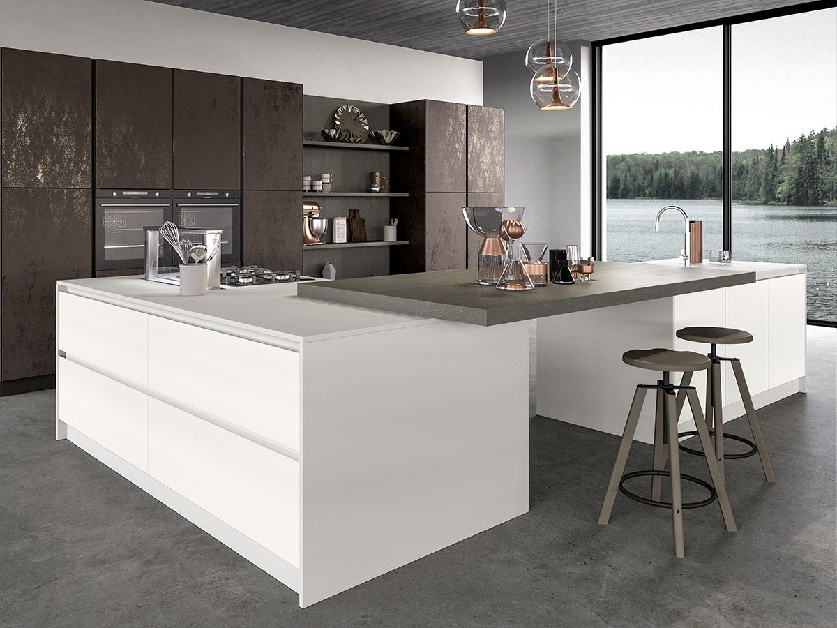 Cucina Con Isola In Legno Scorrevole Interior Design : Cucina moderna ad isola con anta in vetro arredissima