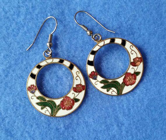 Vintage Cloisonne Earrings, gogo hoops, floral enamel ...