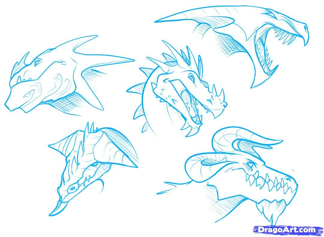 Drawing Dragons Tutorial  How To Draw Dragon Heads Step 6