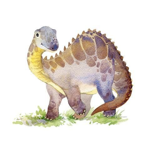 'Cartoon Dinosaur Watercolor Illustration.' Art Print - Faenkova Elena | Art.com