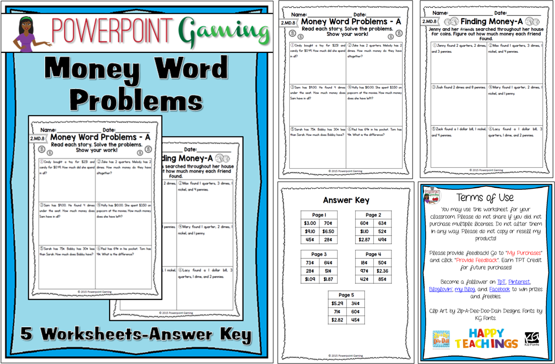 Money Word Problems - 2.MD.8 | Word problems, Worksheets and Math