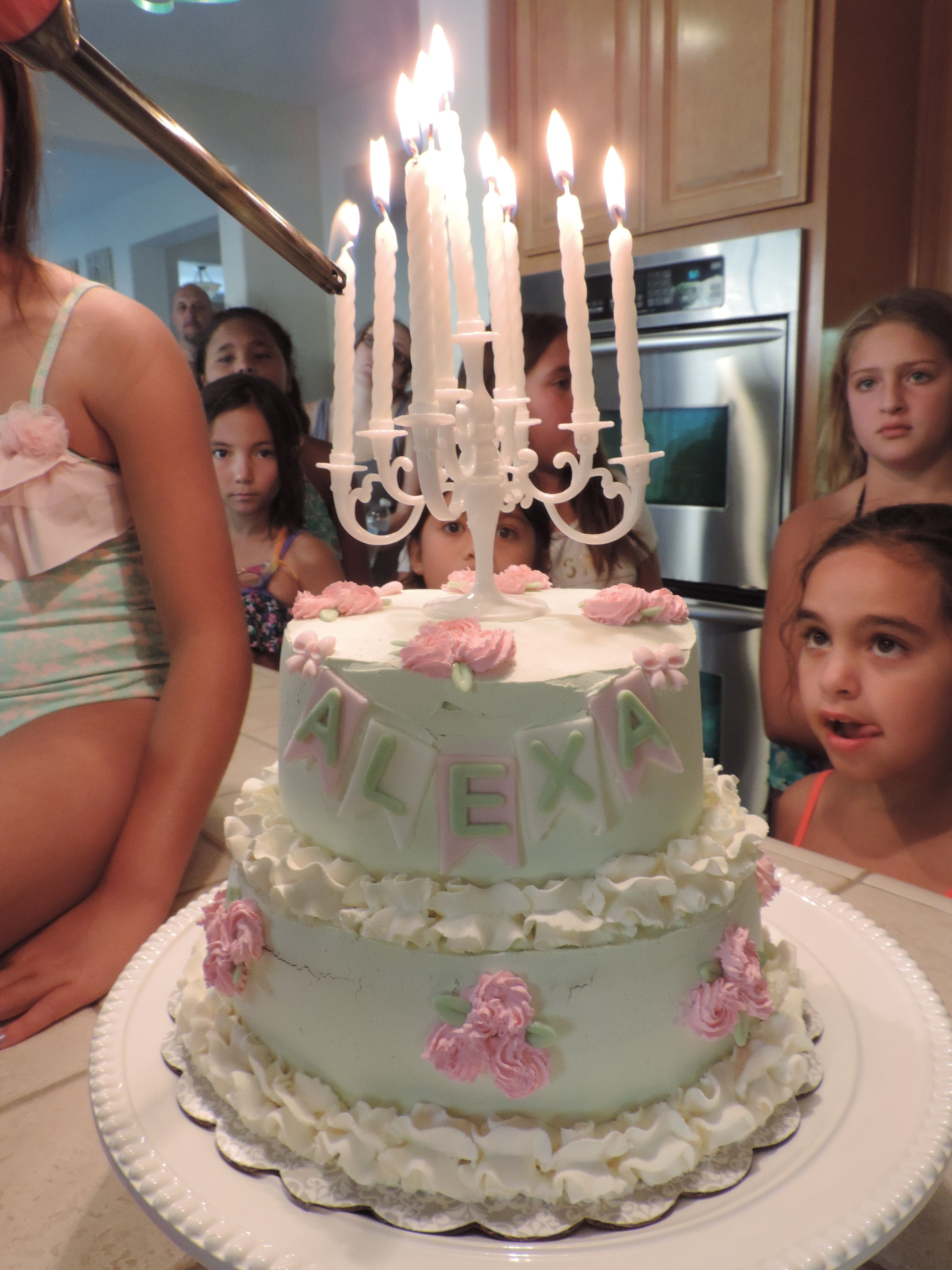 Alexas Spa Birthday Cake With Candelabra Topper White Strawberry Filling And Non Dairy Whipped Frosting