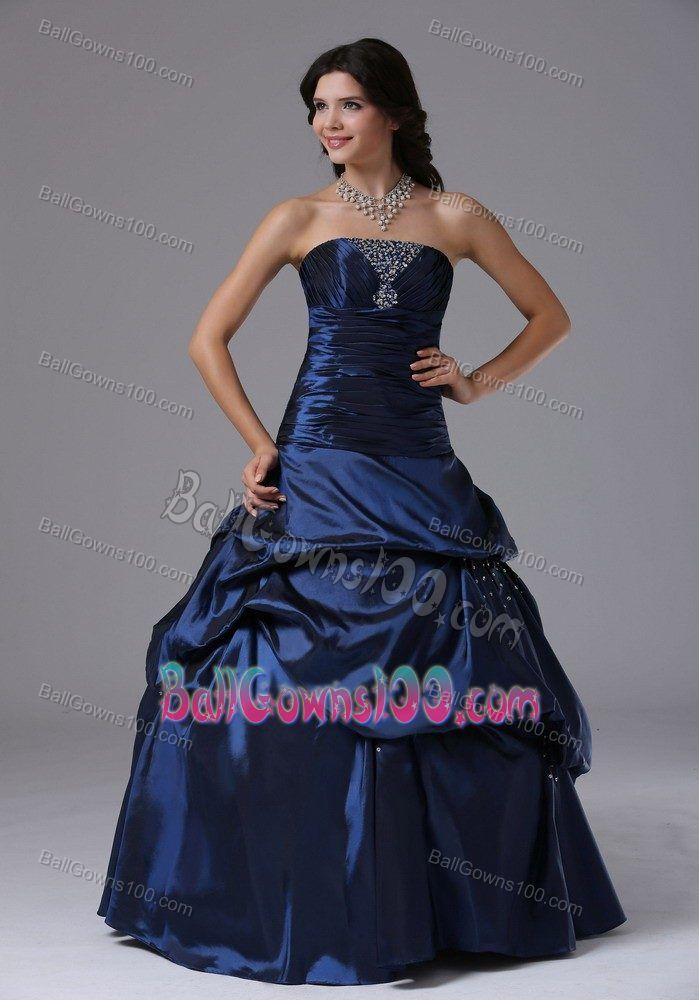 Beaded Ruching Navy Blue Military Ball Dresses with Pick-ups ...