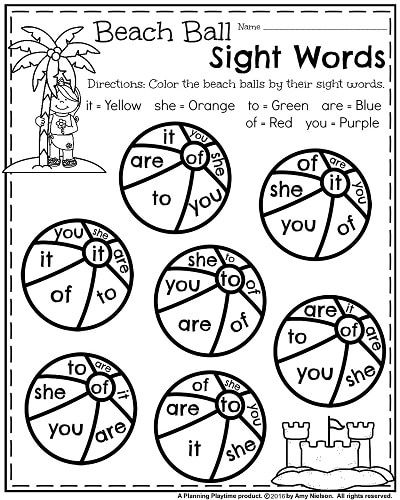 Worksheets Contractions Word Summer Kindergarten Worksheets  Kindergarten Worksheets Beach  Writing Abc Worksheets Word with Fun Halloween Math Worksheets Kindergarten Worksheets For Summer  Beach Ball Color By Sight Words Grade 8 Math Worksheets Pdf Pdf