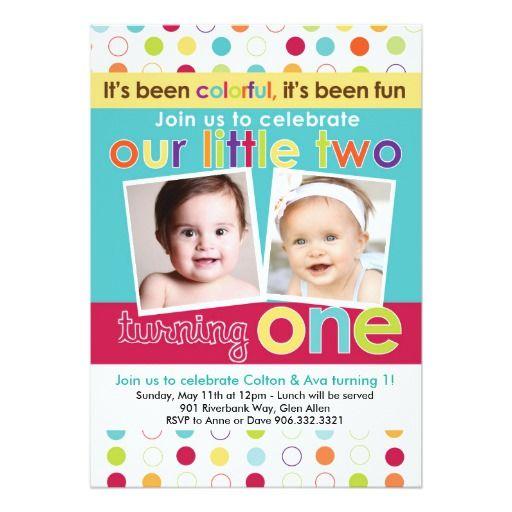 fun twins first birthday invitation
