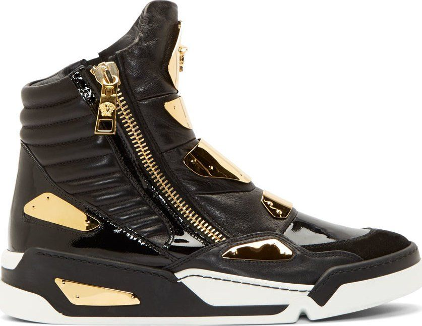 250d88b4a3544 Versace - Black Leather Gold-Plated Sneakers | ay gorgeous | Versace ...