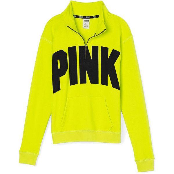 Victoria's Secret Boyfriend Half-Zip ($45) ❤ liked on Polyvore featuring tops, boyfriend tank top, mock turtle neck tops, graphic tops, zip top and yellow top