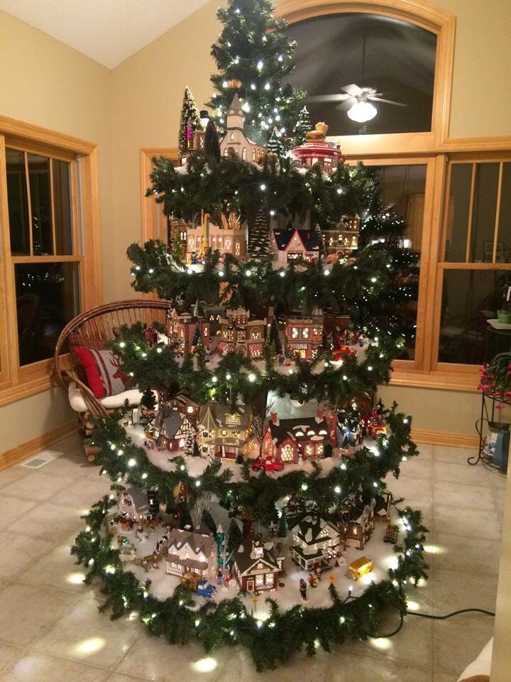 I Want This Perfect Village Display And Christmas Tree All In One Creative Christmas Trees Christmas Tree Village Christmas Tree Train