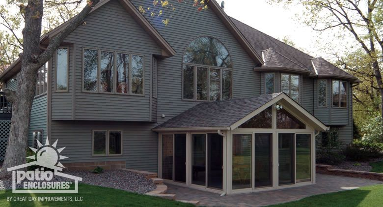 sandstone vinyl frame all season room with gable roof sunrooms