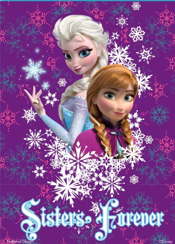 "18/"" x 43/"" Frozen Elsa Anna Disney Princess Sisters Forever on Cotton Fabric"
