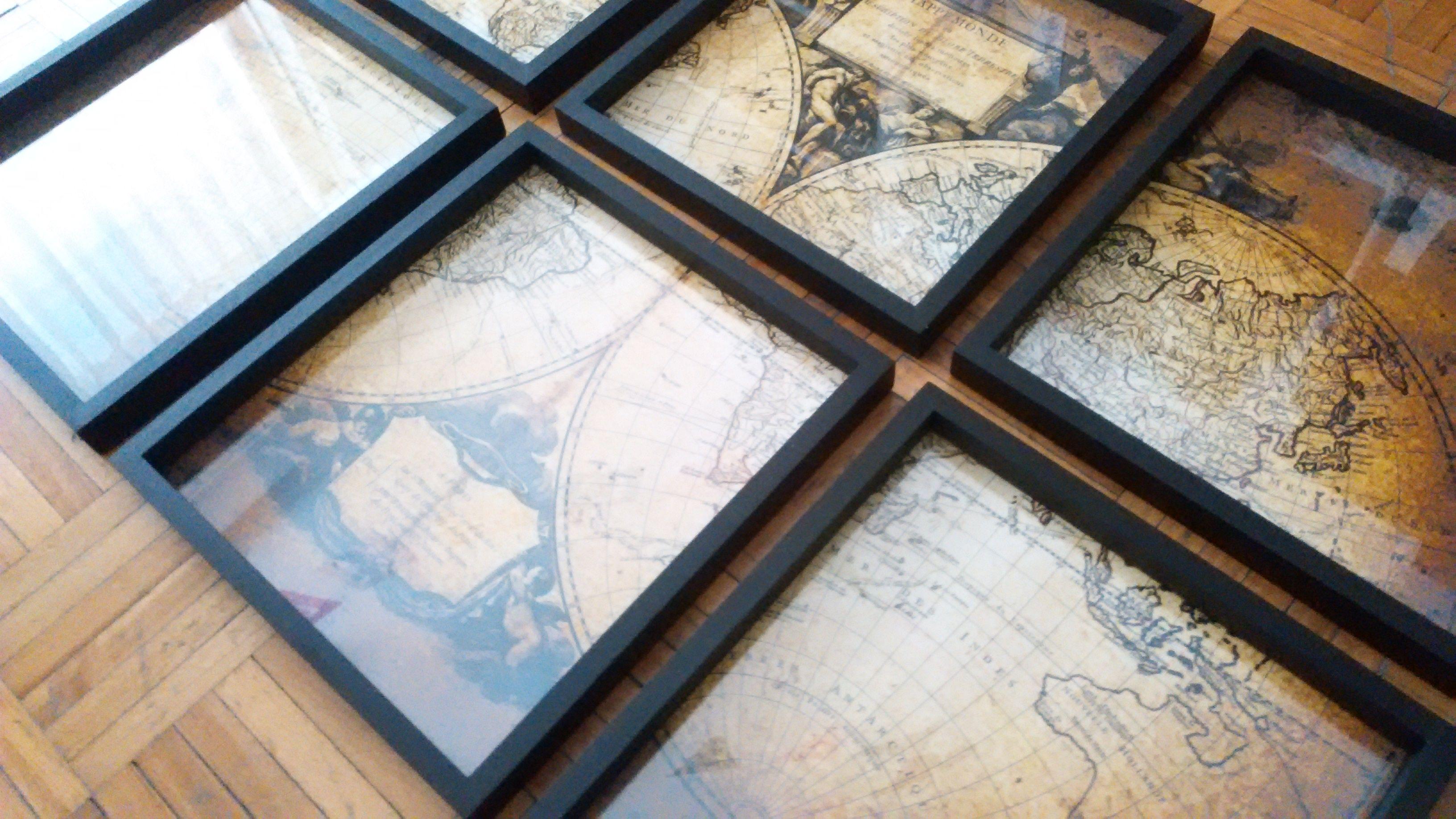 Mapamundi antiguo en 6 marcos de 30x30 cm. Estilo Industrial ...