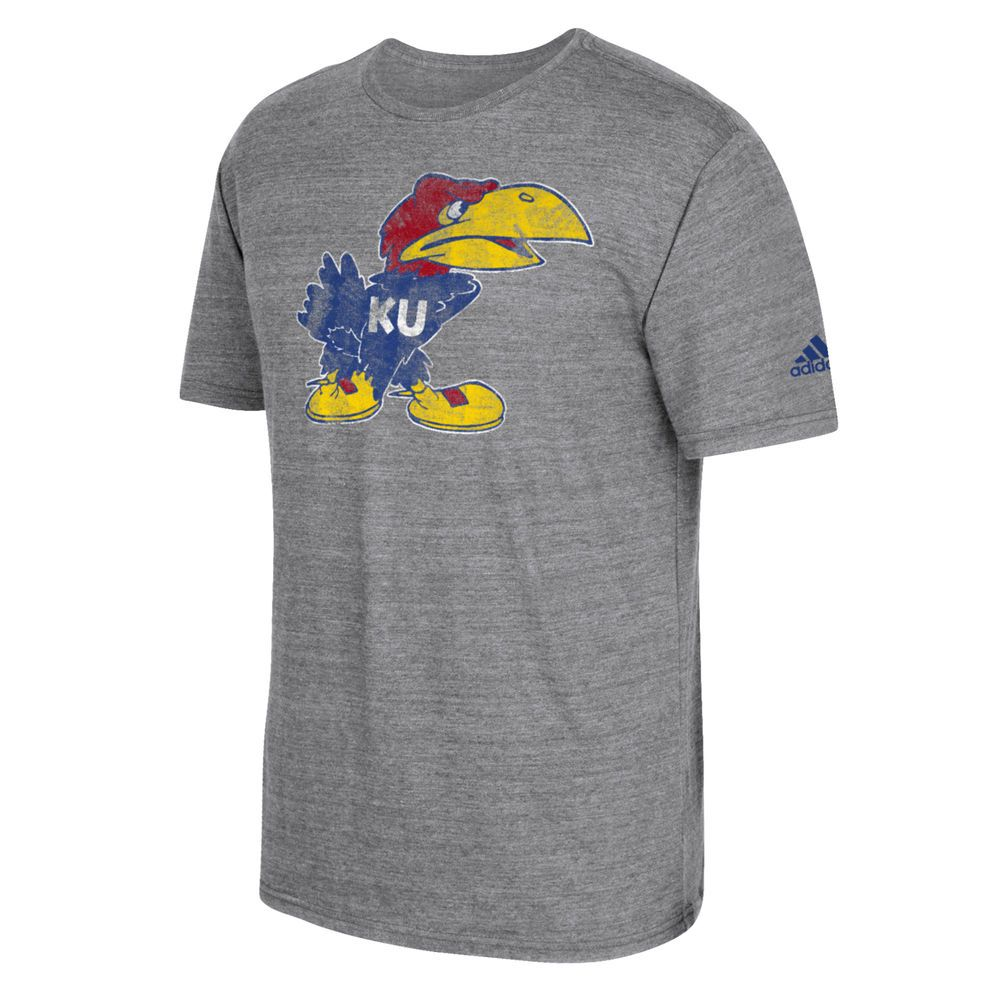 Men's adidas Heathered Gray Kansas Jayhawks Brushed Logo Tri-Blend T-Shirt