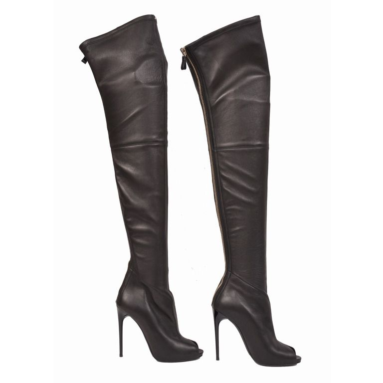Tom Ford stretch-leather over-the-knee boots with open toe | Tom ...