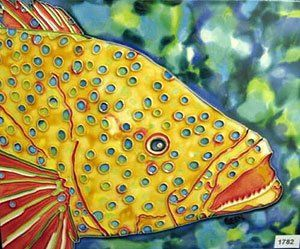 Decorative Tiles To Hang Yellow Dotted Fish Decorative Ceramic Wall Art Tile 6X6Cctc