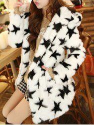 $26.34 Sweet Hooded Neck Pentagram Pattern Long Sleeves Slimming Faux Fur Coat For Women