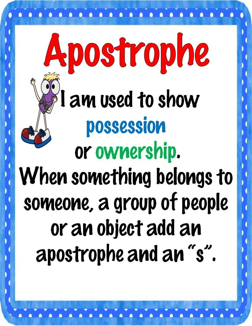 apostrophe mini poster and worksheet super second grade writing mini lessons punctuation. Black Bedroom Furniture Sets. Home Design Ideas