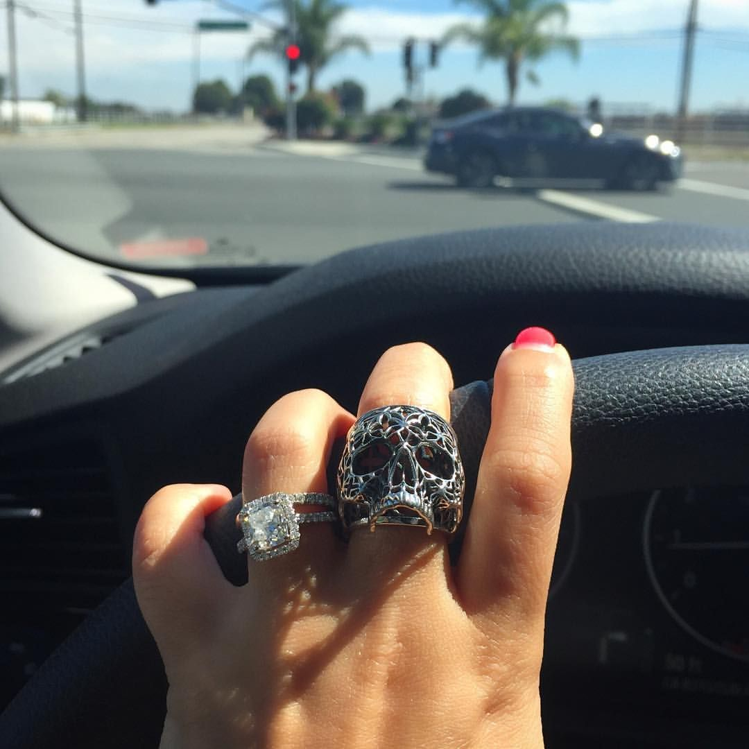 """ingridw26 on Instagram: """"Finally get to wear my new obsession @INGRIDJewelry skull ring -Coming Soon- #silver #jewelry #fashion #skull #macabre #ootd #calilife #casualluxury"""""""