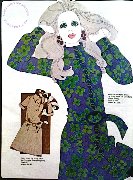 Vintage 60s Fashion Illustration - Dresses by Polly Peck 1969