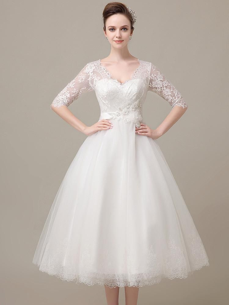 Tea Length Lace Wedding Dress With