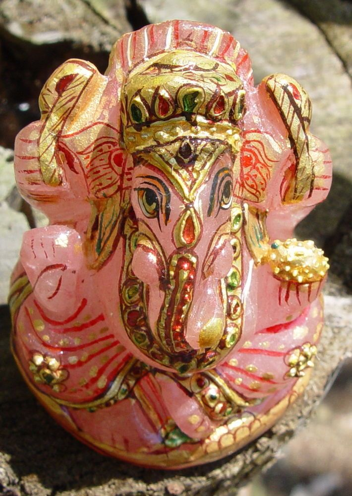 GANESHA CARVED IN ROSE QUARTZ HAND PAINTED FIGURINE Wicca Witch Pagan Goth Yoga