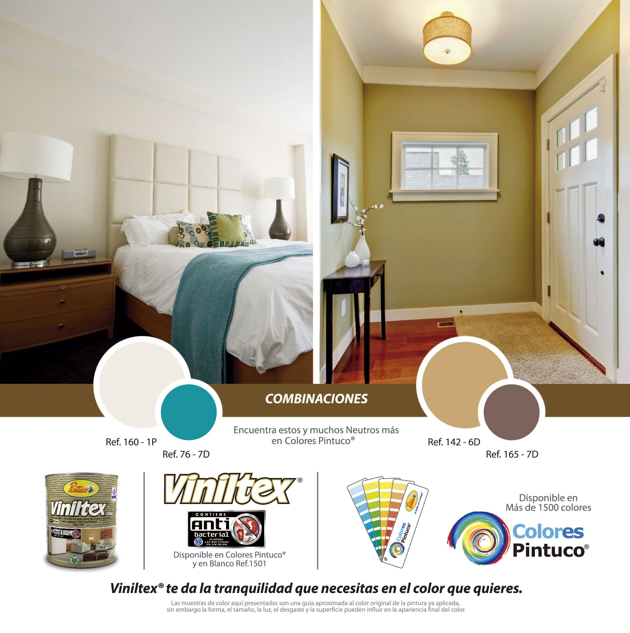 Combinaciones en colores neutros de viniltex de pintuco for Paleta de colores de pintura para interiores